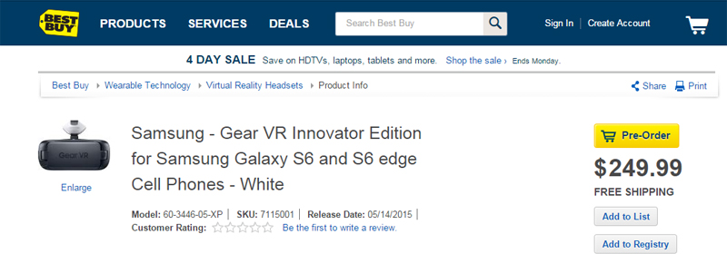 Samsung Gear VR Innovator Edition for Samsung Galaxy S6 copie