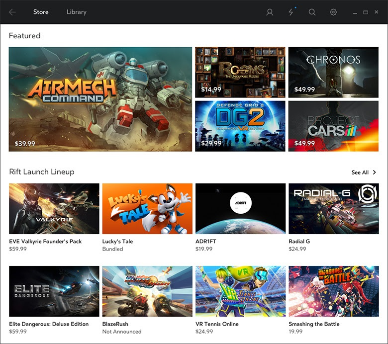 Oculus Store for Rift