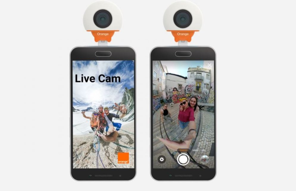 une cam ra 360 orange live cam pour android par giroptic. Black Bedroom Furniture Sets. Home Design Ideas